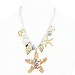 TRENDY STARFISH BEACH NECKLACE AND EARRINGS SET